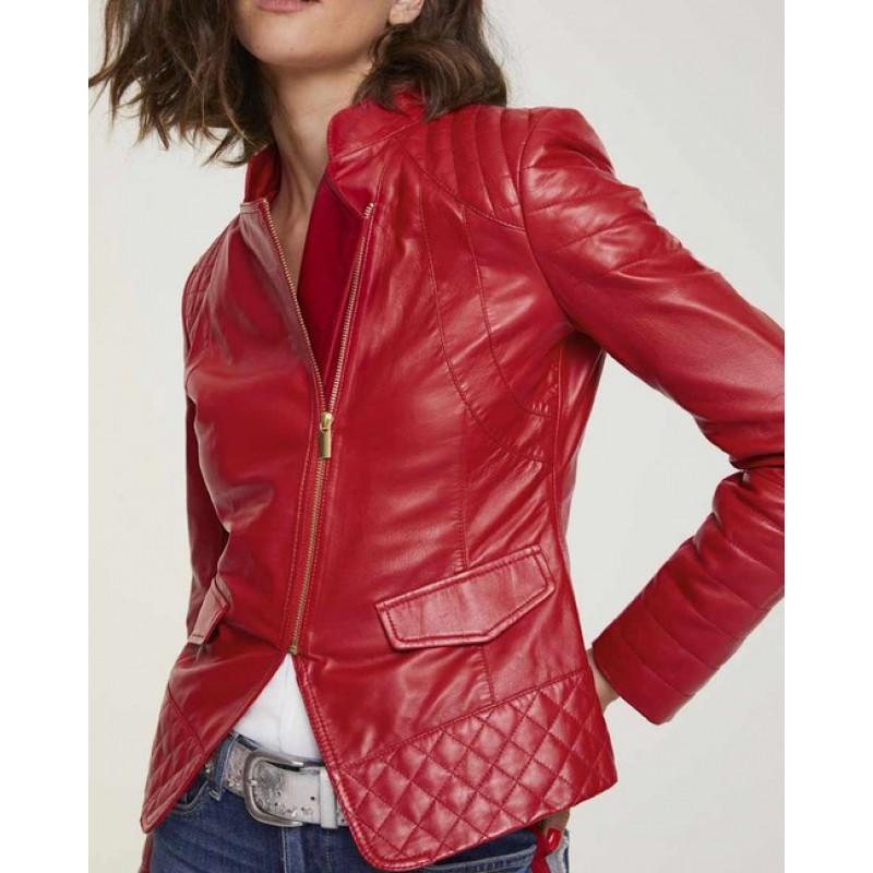Heine kožená nappa bunda, červená