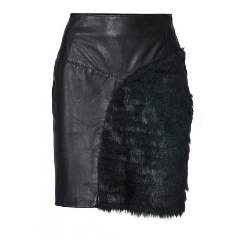 Kožená sukňa s umelou kožušinou , čierna