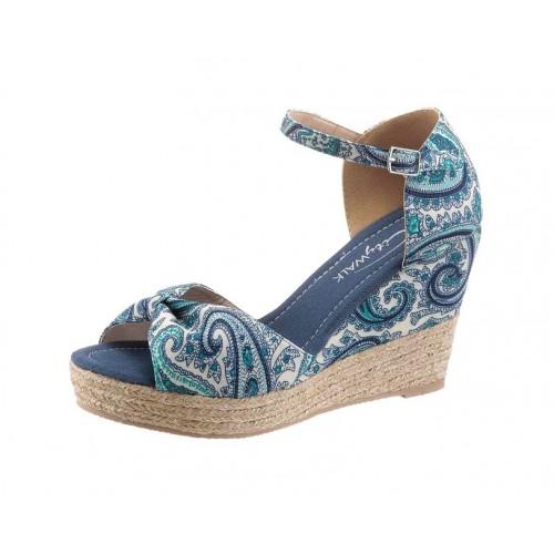 Klinové sandále City Walk, modro-biela