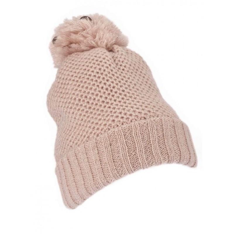 Pletená čiapka s flitrami Loevenich, ružová