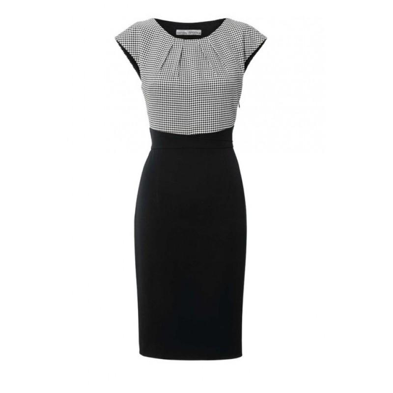 Čierno-biele šaty so sťahujúcou spodničkou