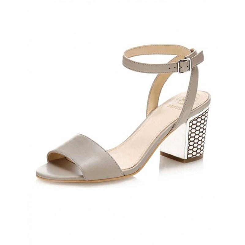 GUESS kožené sandále, sivobéžová