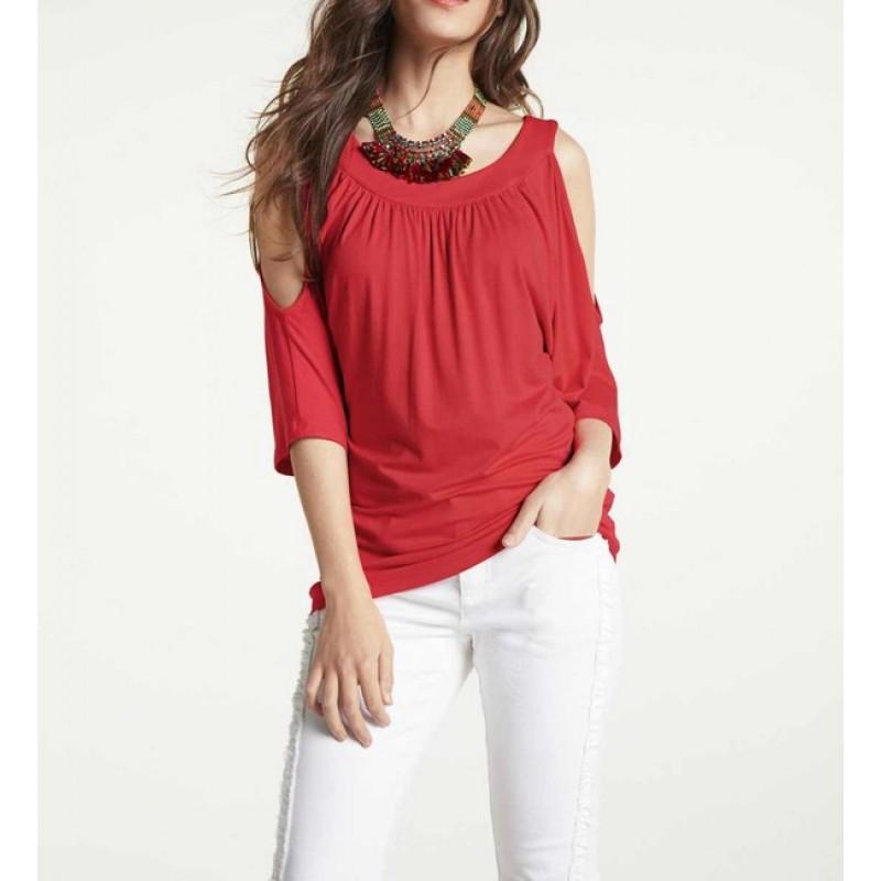 Džersejové tričko s odhalenými ramenami Heine, červená