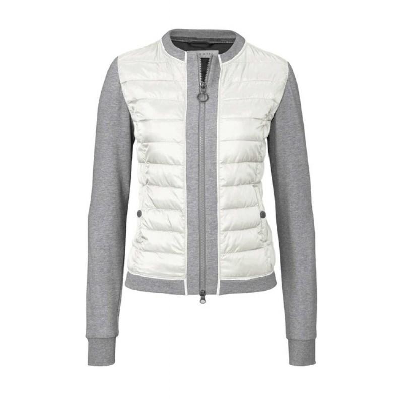 BUGATTI prešívaná bunda, krémovo-šedá melanž