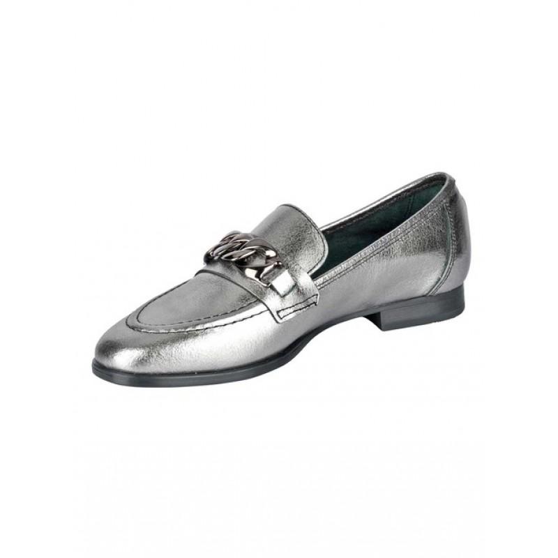 Kožená topánka s kovovou ozdobou Heine, strieborná