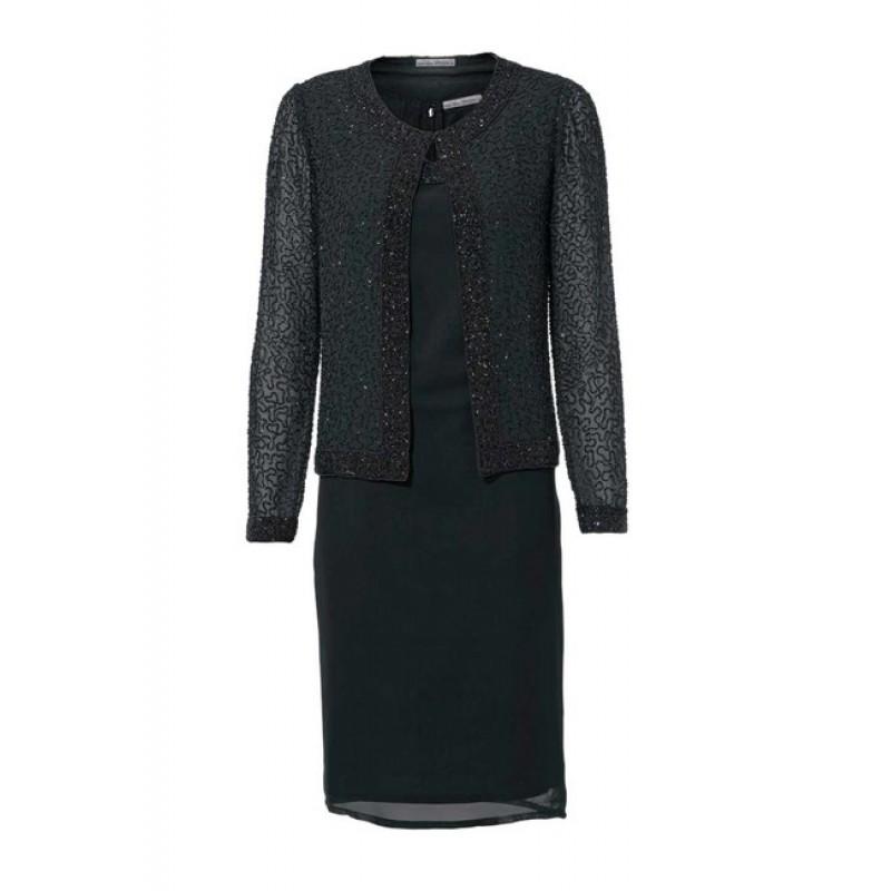 Elegantné šaty vyšívané perličkami so sakom, čierne