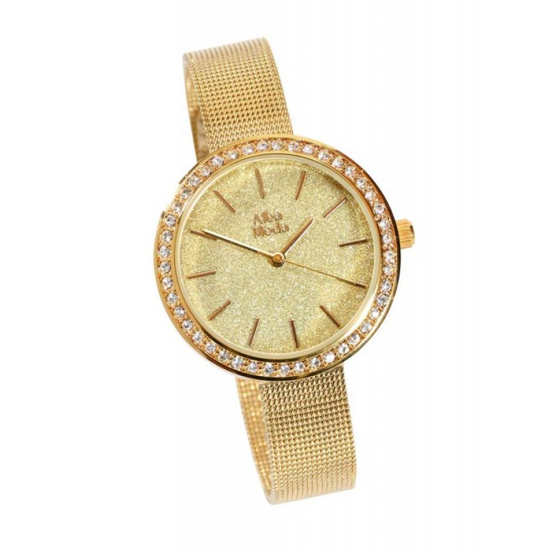 Dámske hodinky s kamienkami, zlatéj farby ALBA MODA