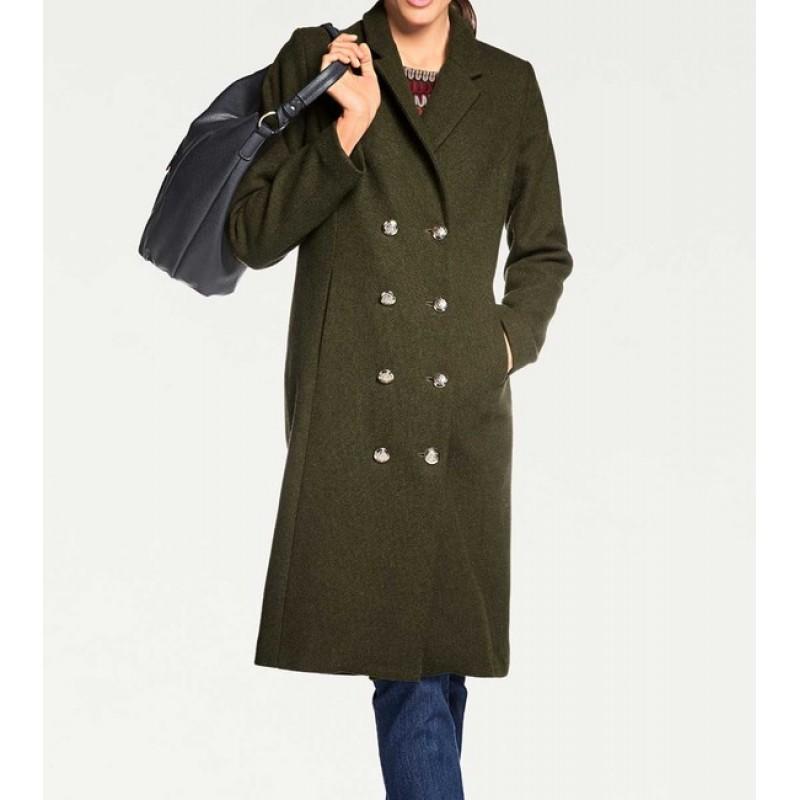 Dvojradový vlnený kabát, olivový