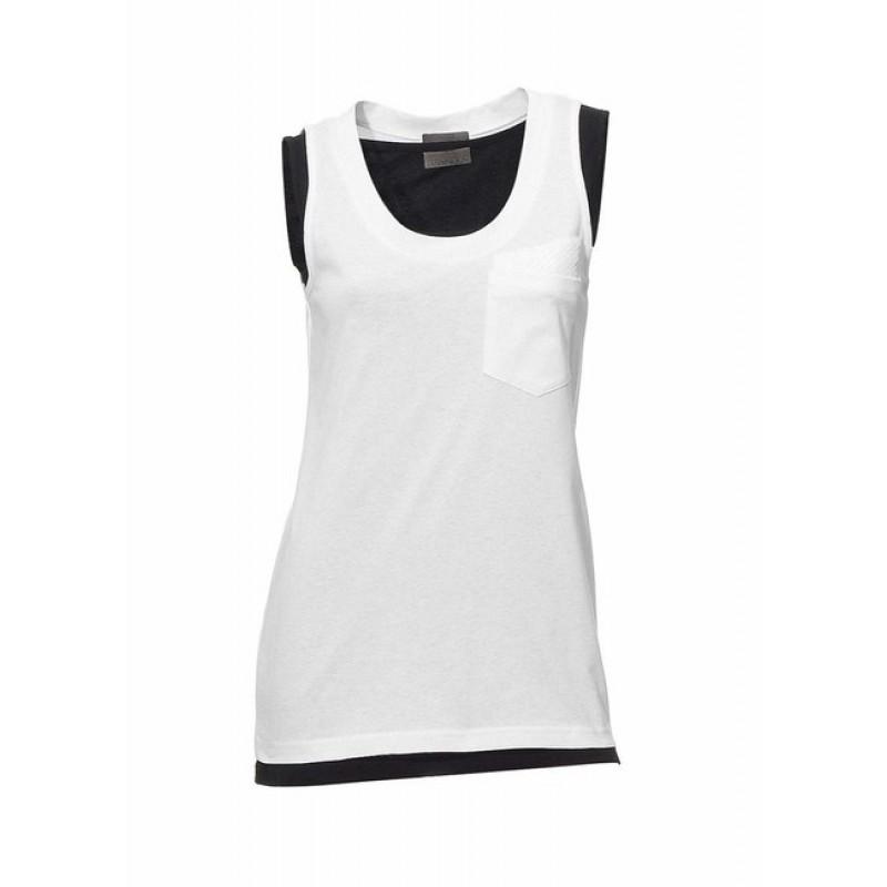 Zdvojený ležérny top Mandarin - čierno–biela - 40