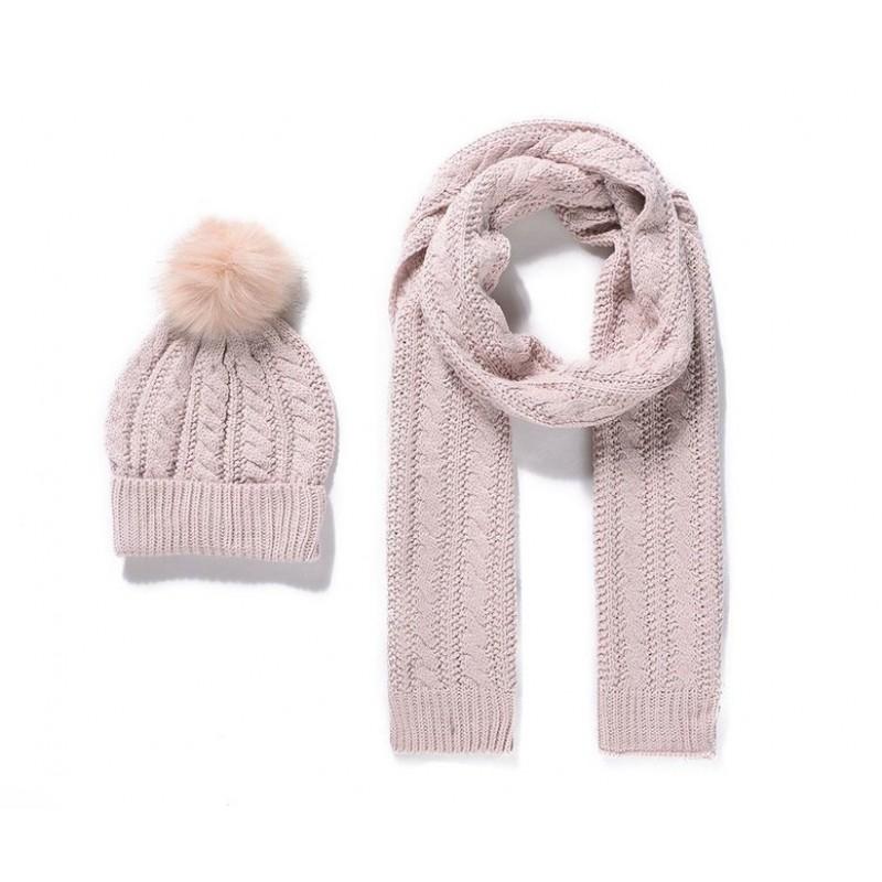 Pletený detský šál a čiapka - ružová