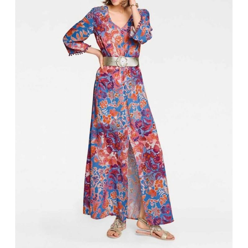 Maxi šaty s kvetinovou potlačou, farebné