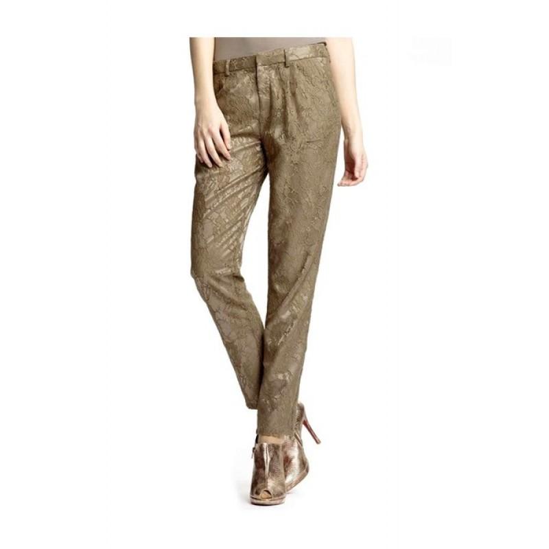 Elegantné krajkové nohavice ALBA MODA - sivobéžová - 36