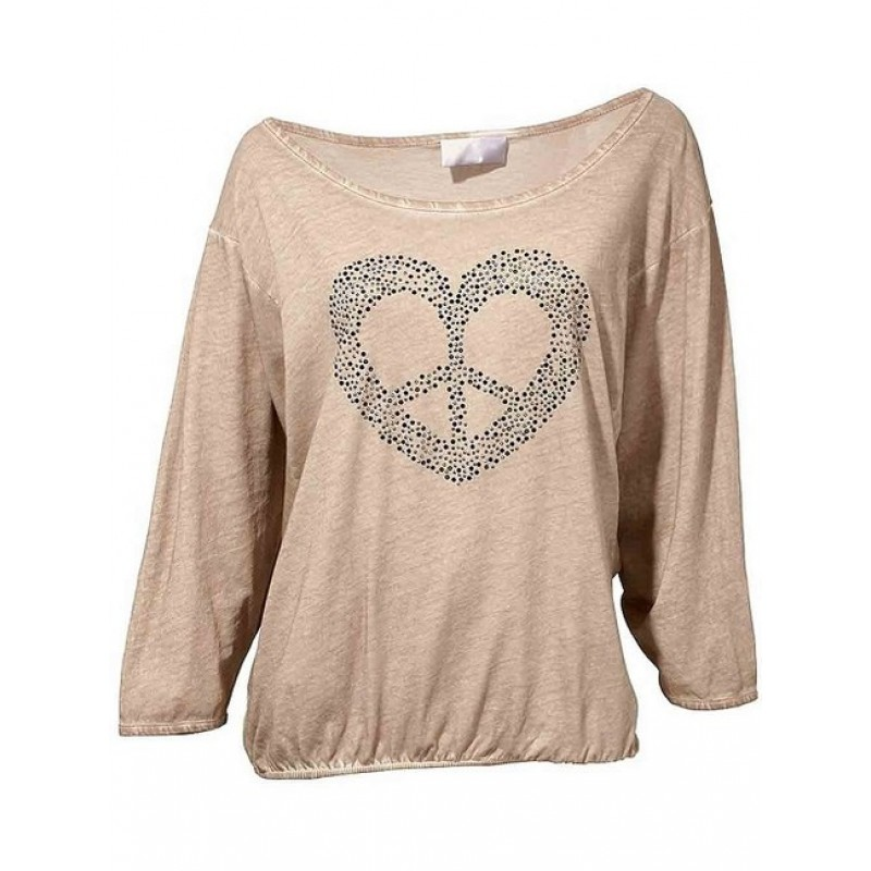 Ležérne bavlnené tričko HEINE - sivobéžová - 36