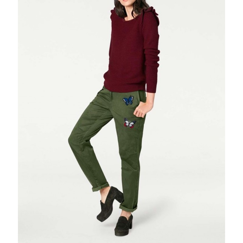 Boyfriend nohavice so záplatami, zelené