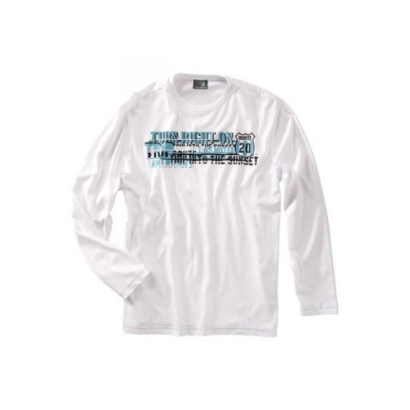 Bavlnené pánske tričko s potlačou, biele
