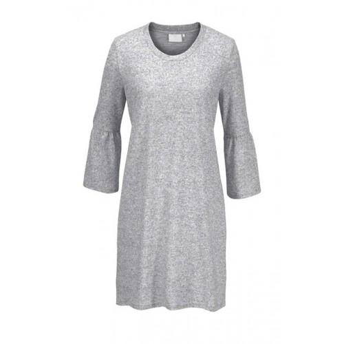 Pletené šaty s volánmi KAFFE, sivá melanž
