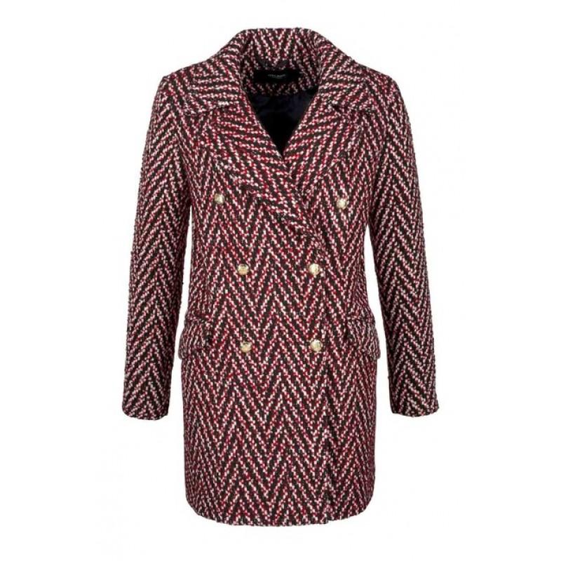 Kabát VERO MODA, červeno-čierno-biely