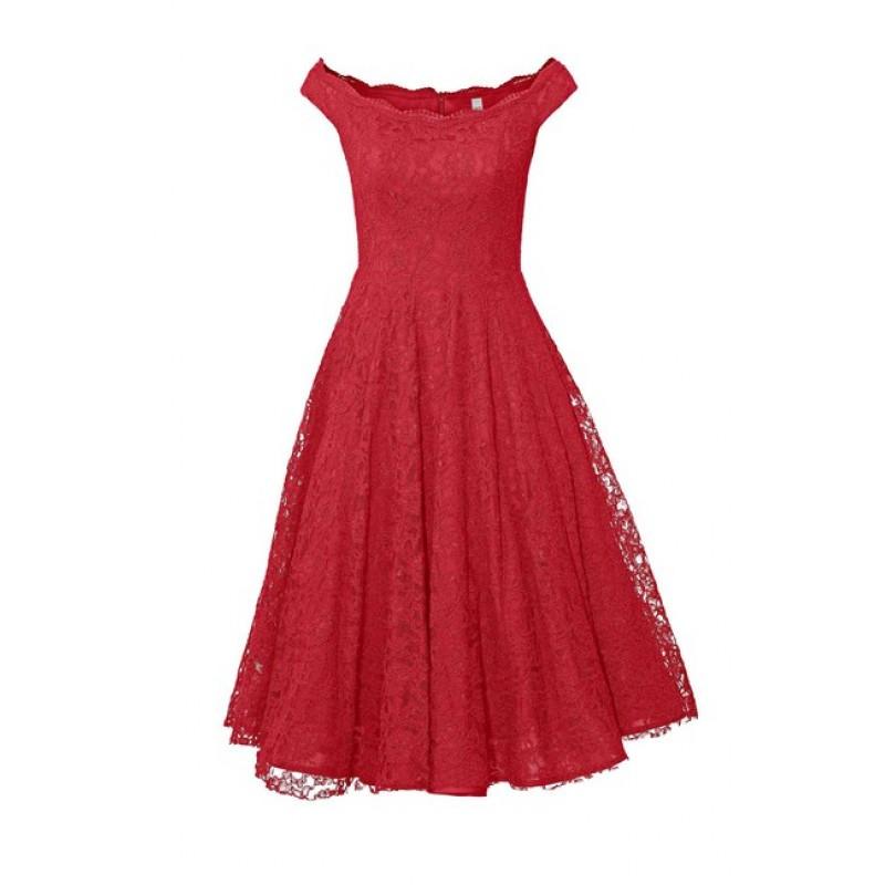 Čipkované koktejlové šaty Ashley Brooke, červená
