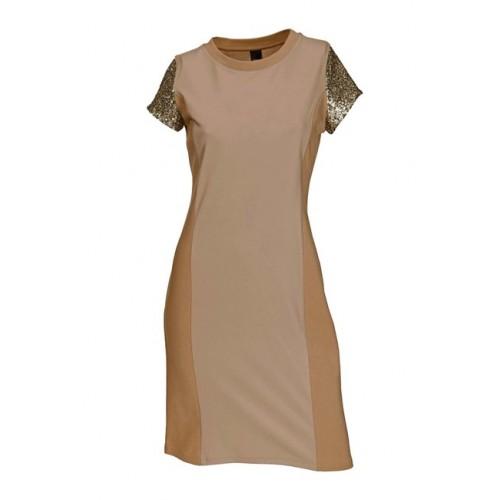 Šaty s trblietavými rukávmi béžové - béžová - 34