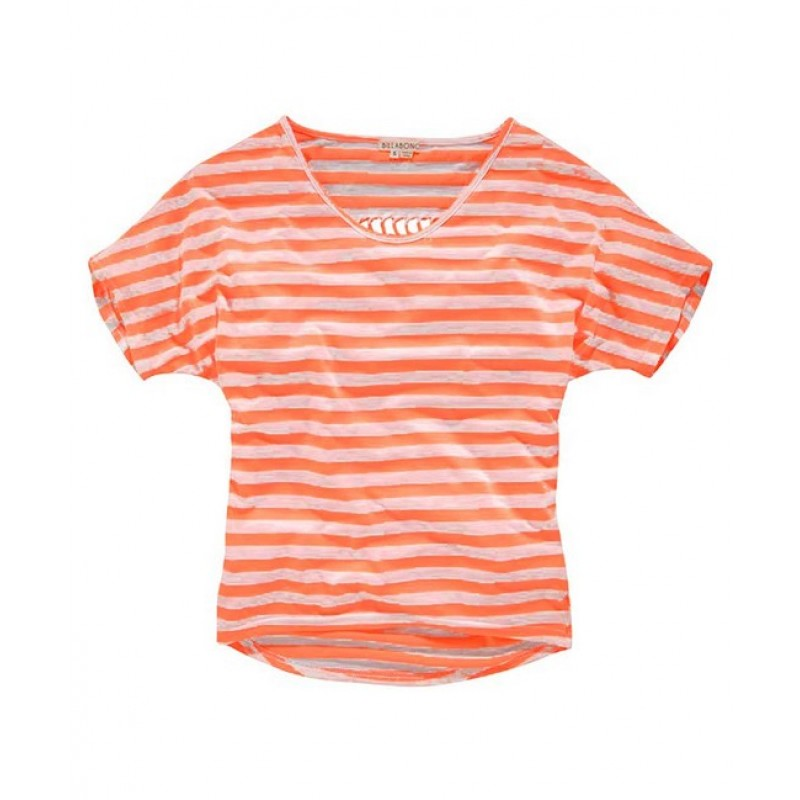 Pruhované tričko Billabong, neon-koral