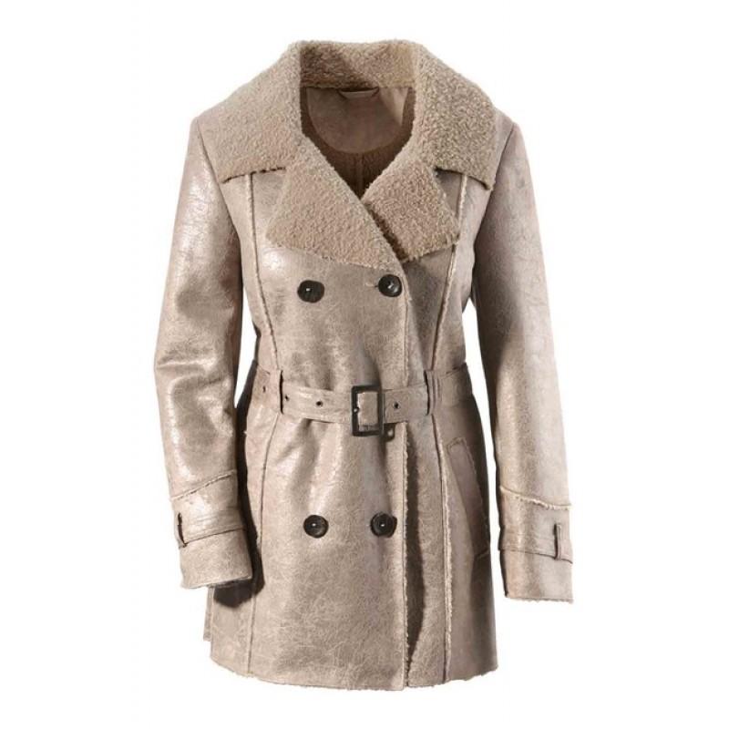 Aniston kožušinový kabát, sivobéžová