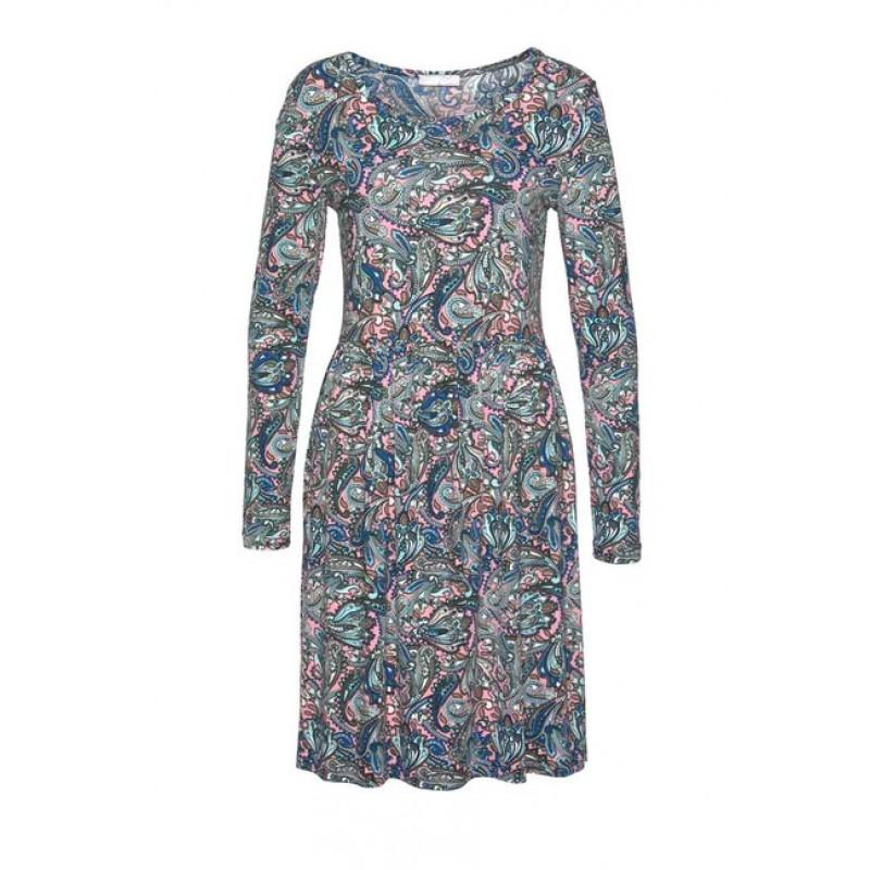 Cheer džersejové šaty s potlačou paisley, viacfarebné