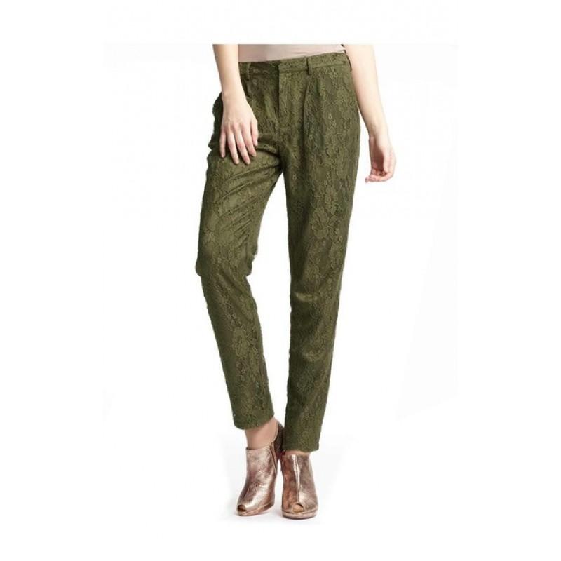 Extravagantné krajkové nohavice ALBA MODA - olivová - 36