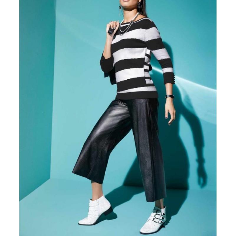 Culotte nohavice z imitácie kože Création L, čierna