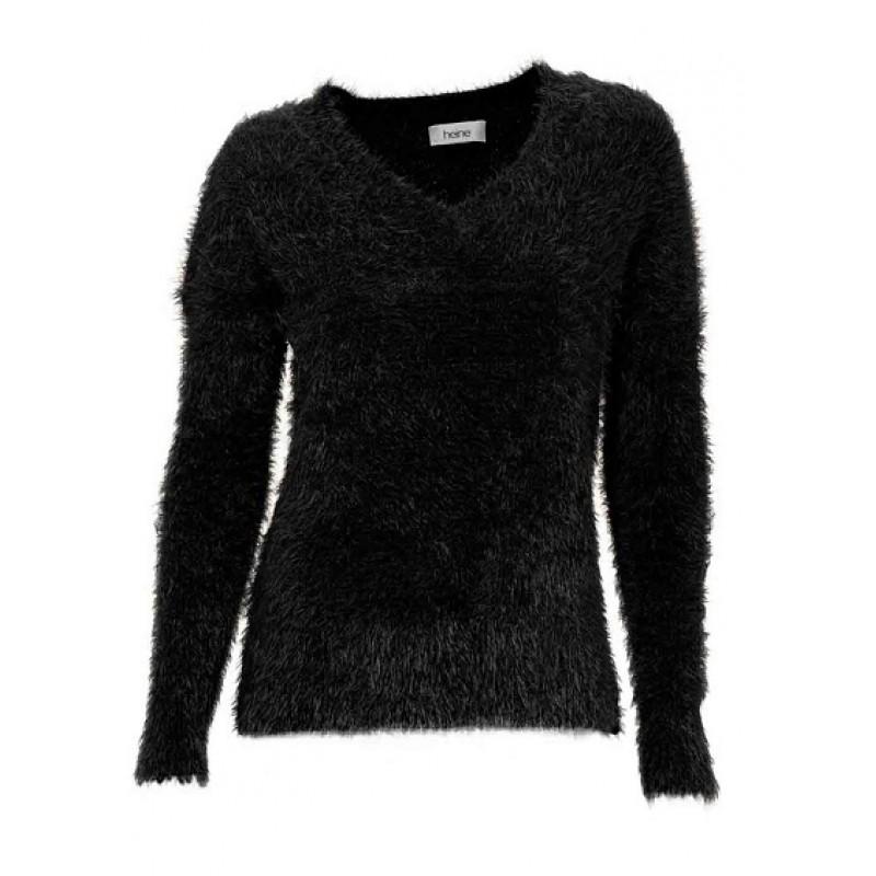 Čierny pulóver s vlasmi HEINE