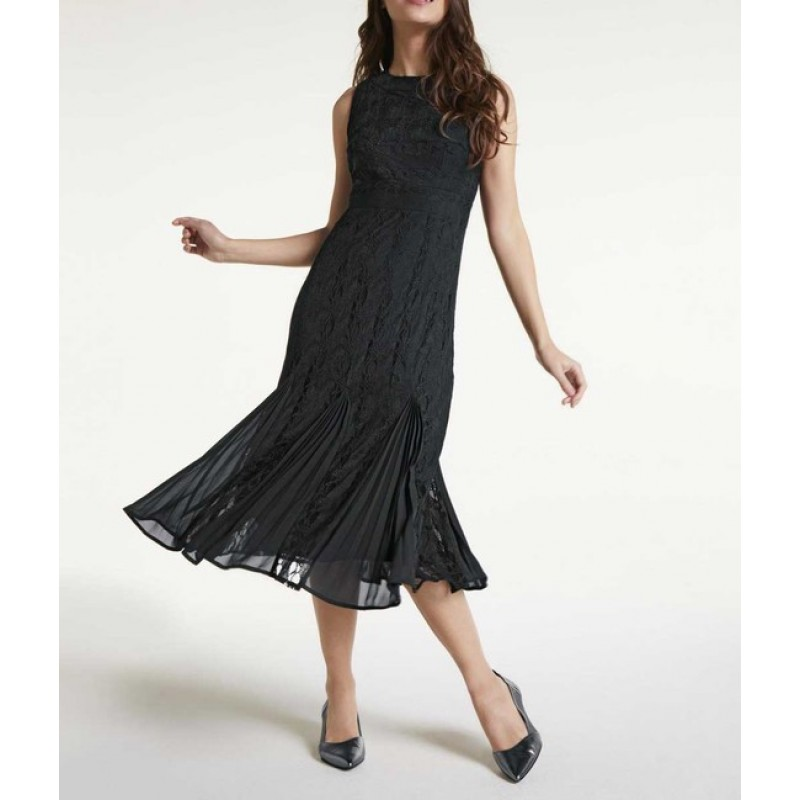 Čipkované plisované šaty Heine, čierne