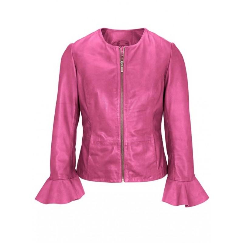 Kožená bunda s volánmi HEINE, ružová