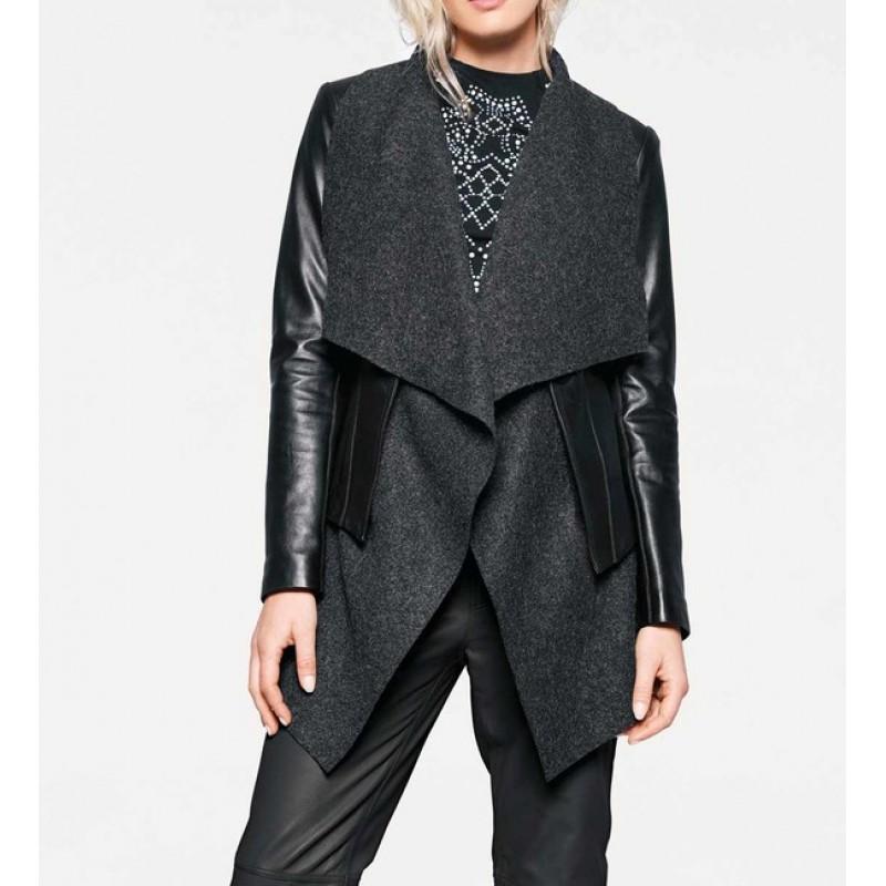 2-v-1-koženo-vlnená bunda, čierno-šedá