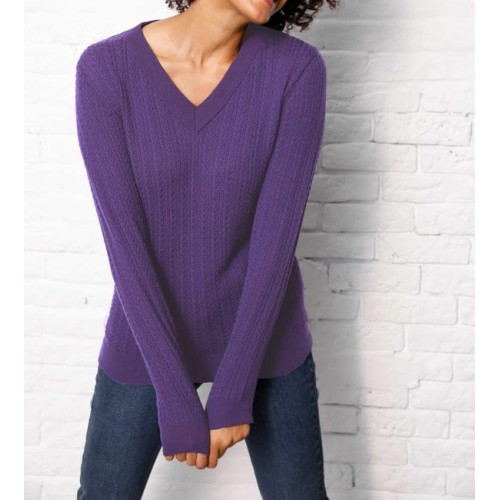 Merino-kašmírový sveter Création L Premium, fialová