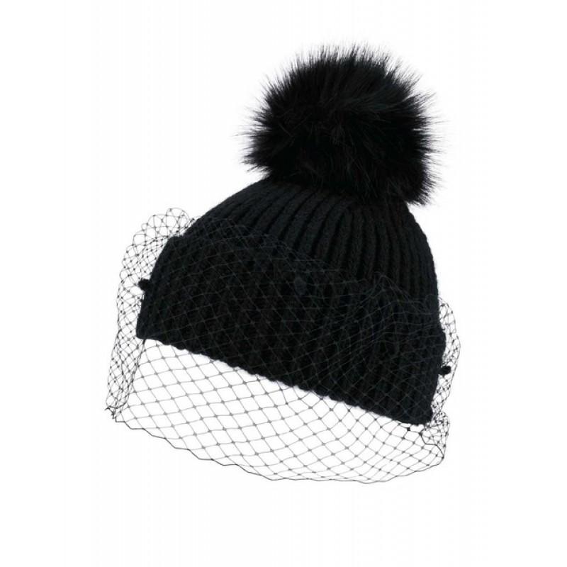 Pletená čiapka so závojom Loevenich, čierna