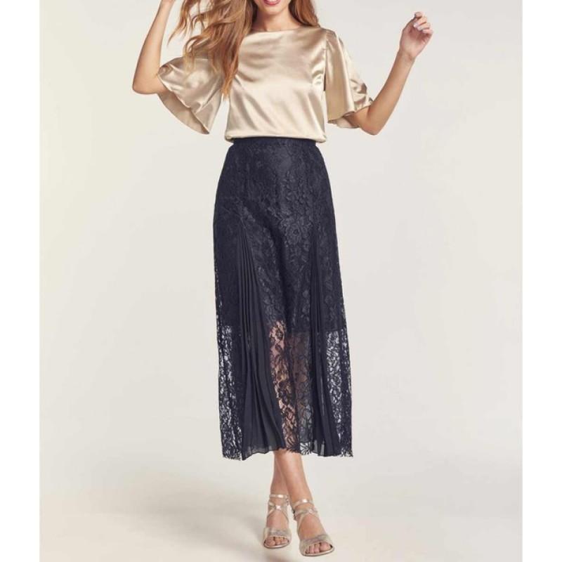 Čipkovaná sukňa s plisom HEINE, tmavomodrá