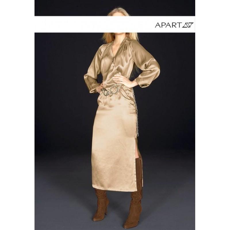 APART hodvábne saténové šaty, zlato béžová
