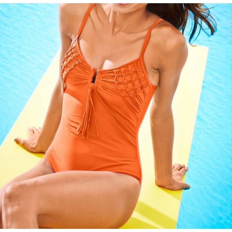 Jednodielne plavky v pletenom vzhľade Heine, oranžová