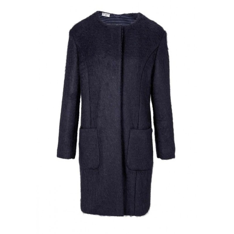 Mohérový flaušový kabát, modrý