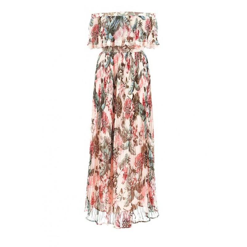 GUESS maxi šifónové šaty, ružovo-farebná