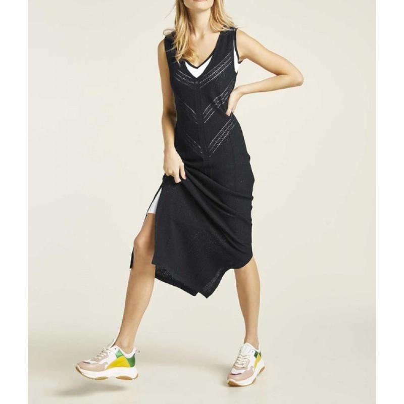 Dvojvrstové pletené šaty HEINE, čierno-biela