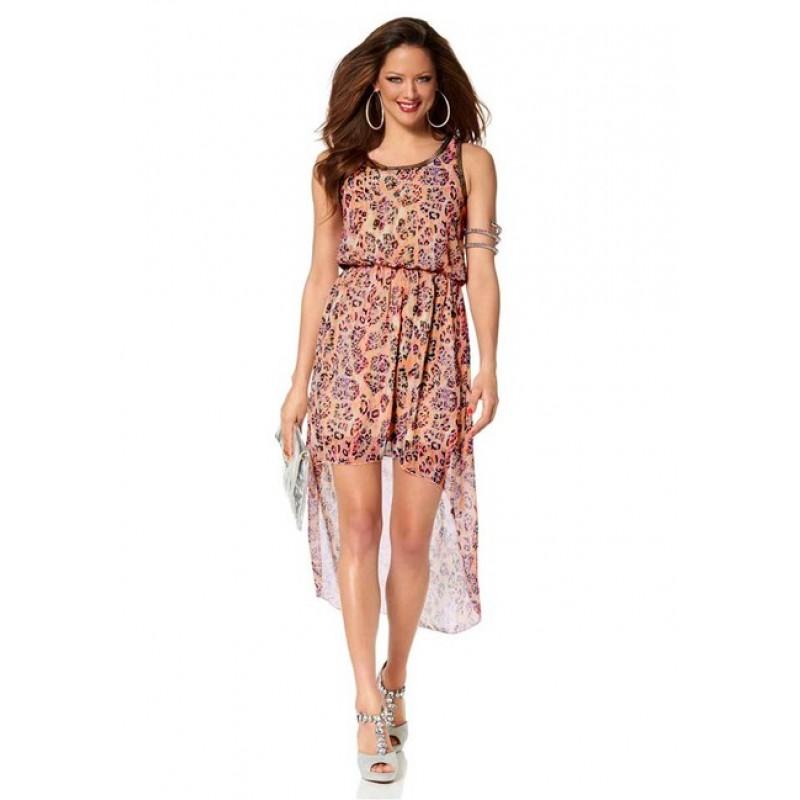 Asymetrické šifónové šaty Melrose, marhuľové
