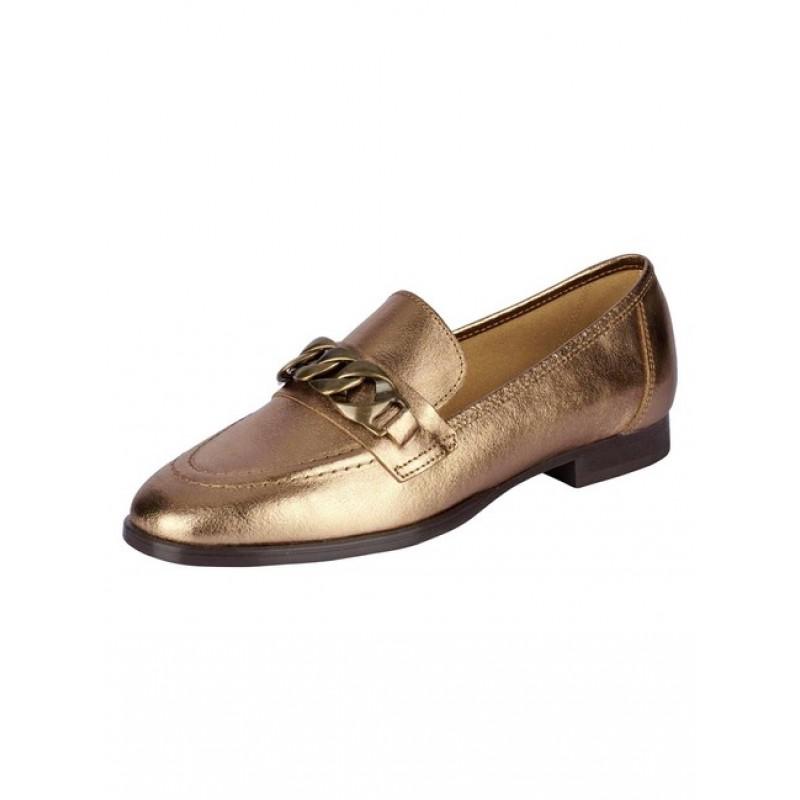 Kožená topánka s kovovou ozdobou Heine, farba zlatá