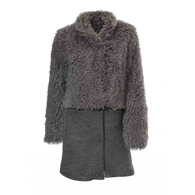 Chlpato-pletený kabátik Rick Cardona, šedý