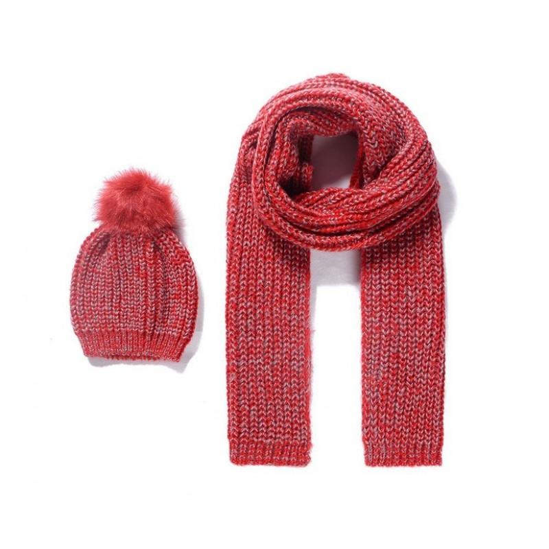Pletený detský šál a čiapka - červená