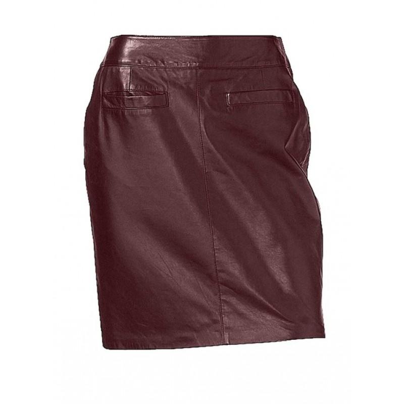 Kožená nappa sukňa, bordó