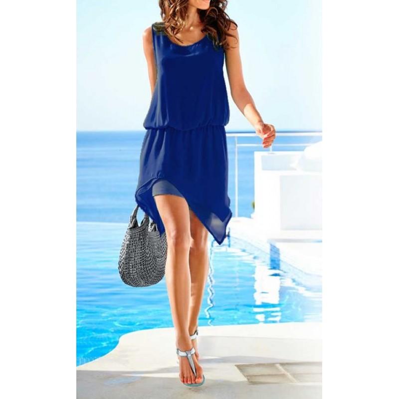 Asymetrické šifónové šaty HEINE, modrá