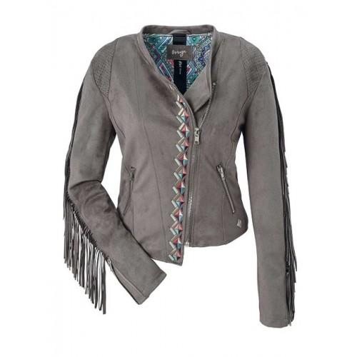 Štýlová sivobéžová bunda so strapcami Maze - sivobéžová - S