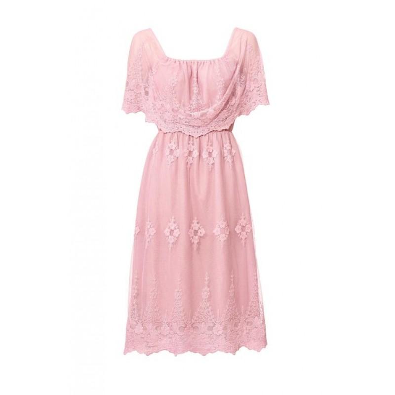 Čipkované šaty Ashley Brooke, ružové