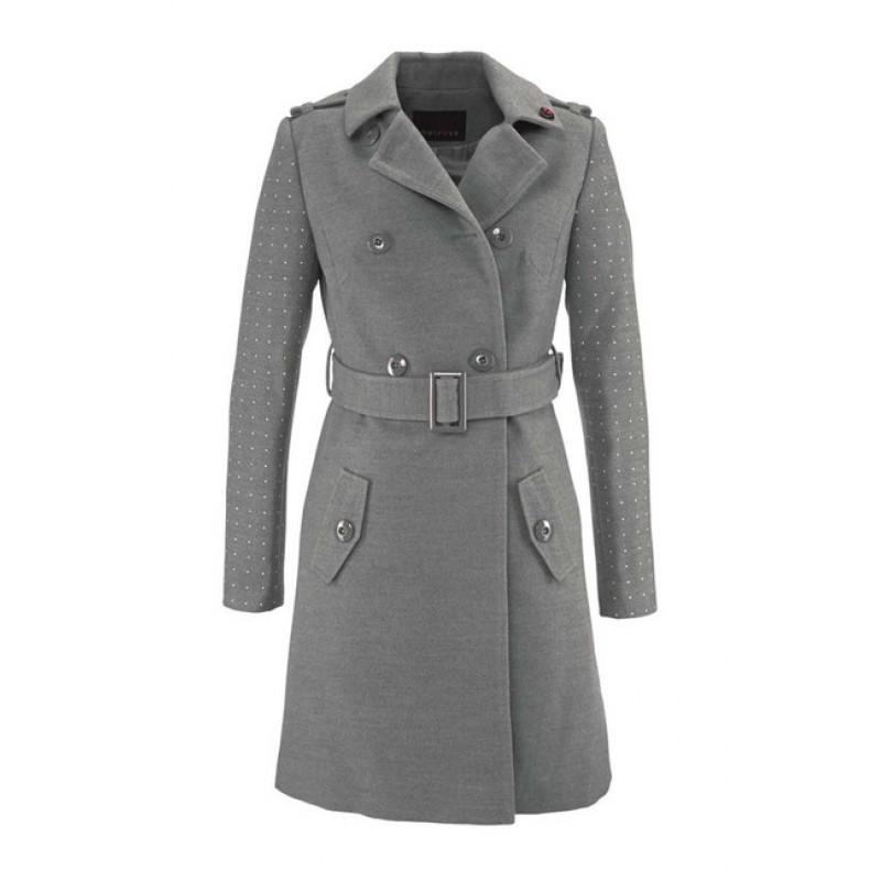 Kabát s ozdobnými nitmy - sivý, Melrose
