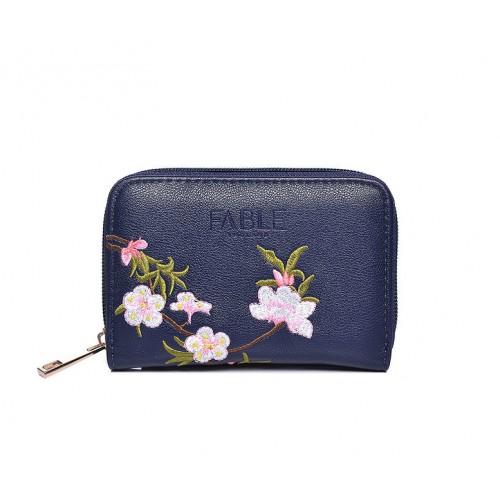 FABLE peňaženka vyšívaná kvetmi - modrá